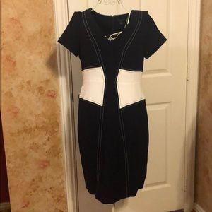 Women's lined asymmetrical patterned dress